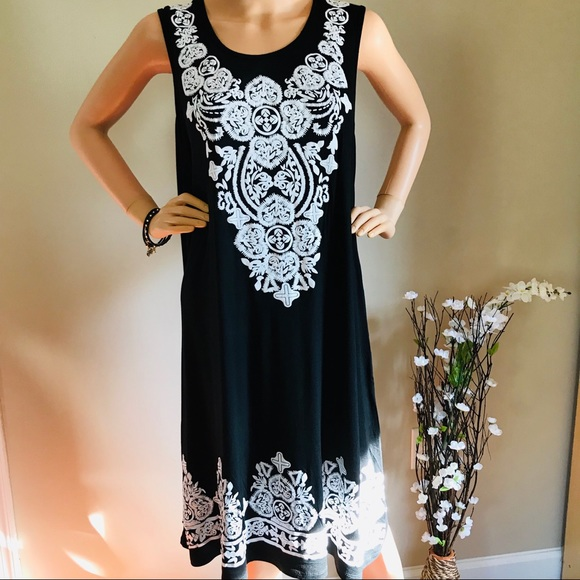 Relaxx Dresses & Skirts - Black Dress With White Printed Soft and Stretchy